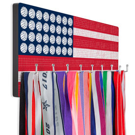 Volleyball Hooked on Medals Hanger - Patriotic