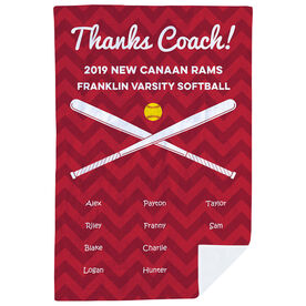 Softball Premium Blanket - Personalized Thanks Coach Chevron