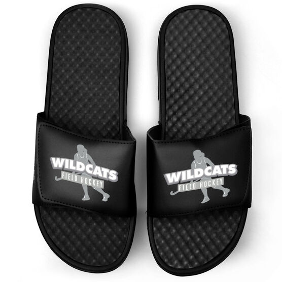 Field Hockey Black Slide Sandals - Your Team Name