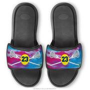 Girls Lacrosse Repwell® Sandal Straps - Personalized Tie-Dye Pattern with Lacrosse Sticks