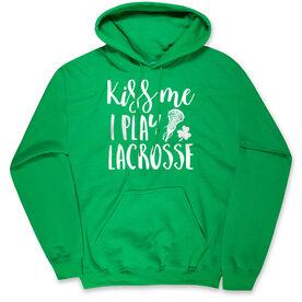 Girls Lacrosse Hooded Sweatshirt - Kiss Me I Play Lacrosse