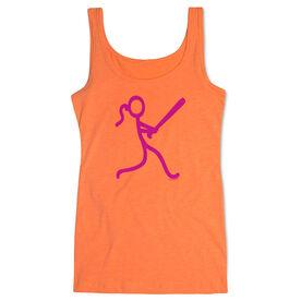 Softball Women's Athletic Tank Top Neon Stick Figure Girl