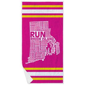 Running Premium Beach Towel - Rhode Island State Runner
