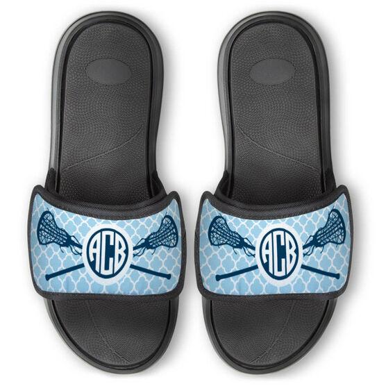 Girls Lacrosse Repwell® Slide Sandals - Personalized Monogram Sticks with Quatrefoil Pattern