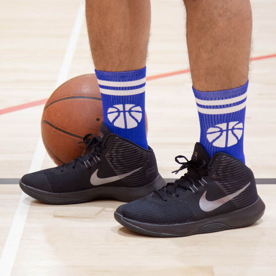 Basketball Woven Mid-Calf Socks - Ball (Royal/White)