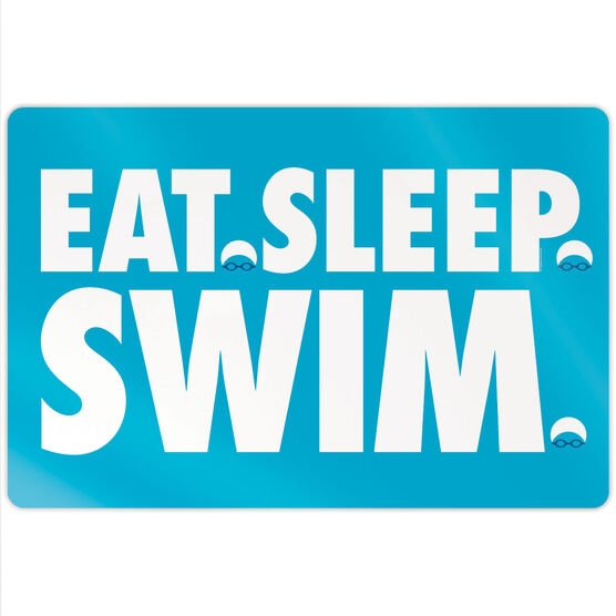 "Swimming 18"" X 12"" Aluminum Room Sign - Eat Sleep Swim"