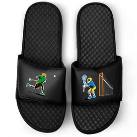 Guys Lacrosse Black Slide Sandals - Go For the Goal