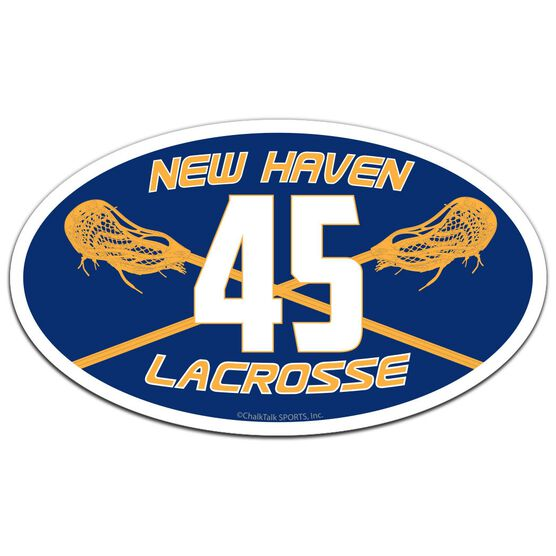 Guys Lacrosse Oval Car Magnet Team Name and Number