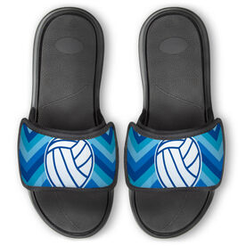 Volleyball Repwell® Slide Sandals - Volleyball With Chevron [Blue/Womens 10] -SS