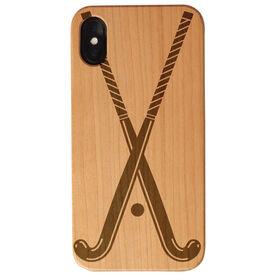Field Hockey Engraved Wood IPhone® Case - Crossed Sticks