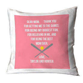 Softball Throw Pillow - Dear Mom Heart