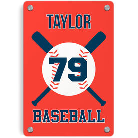 Baseball Metal Wall Art Panel - Personalized Baseball With Bats