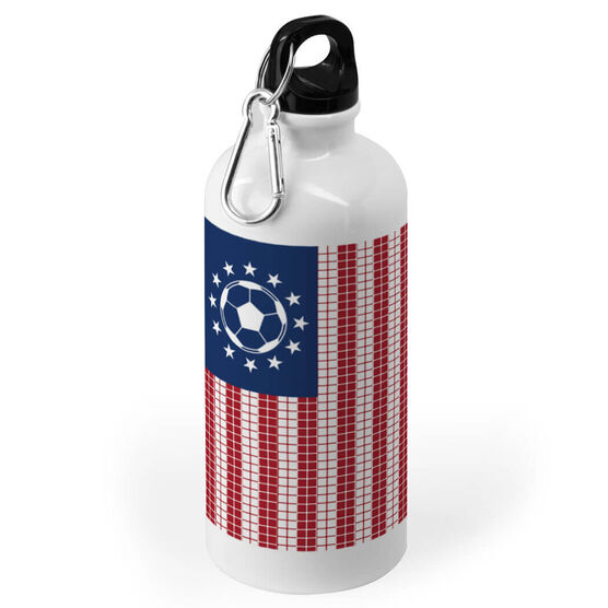Soccer 20 oz. Stainless Steel Water Bottle - American Ball And Goal Flag