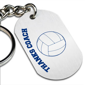 Thanks Coach Volleyball Printed Dog Tag Keychain