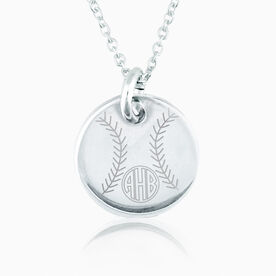 Sterling Silver 20mm Circle Necklace Softball Monogram
