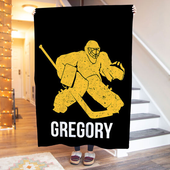 Hockey Premium Blanket - Personalized Goalie
