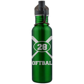 Softball Crossed Bats and Player Number 24 oz Stainless Steel Water Bottle