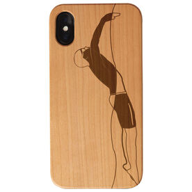 Swimming Engraved Wood IPhone® Case - Male Silhouette