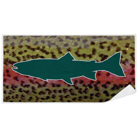Fly Fishing Premium Beach Towel - Rainbow Trout with Silhouette