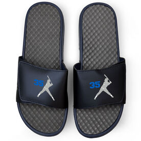Softball Navy Slide Sandals - Batter Silhouette with Number