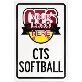 "Softball Aluminum Room Sign Softball Custom Logo (18"" X 12"")"