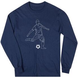 Soccer Long Sleeve T-Shirt - Soccer Guy Player Sketch