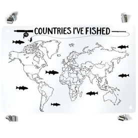 Fly Fishing Metal Wall Art Panel - Countries I've Fished Outline