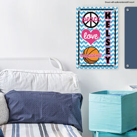 "Basketball Aluminum Room Sign Personalized Peace Love Basketball Chevron (18"" X 12"")"