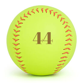 Personalized Engraved Softball - Number