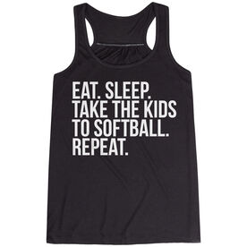 Softball Flowy Racerback Tank Top - Eat Sleep Take The Kids To Softball