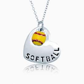 Silver Softball Heart and Mini Enamel Softball Necklace
