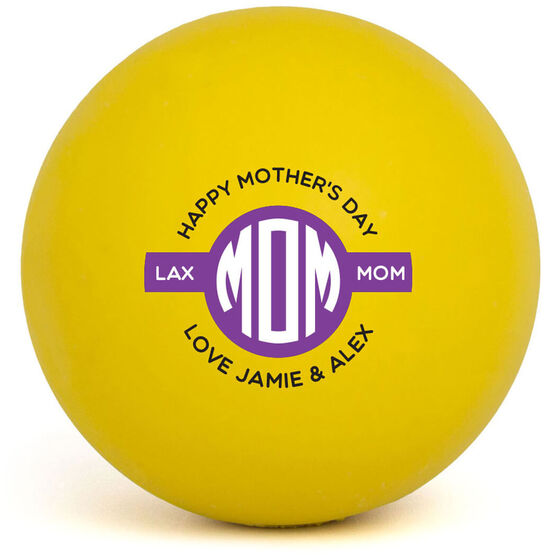 Personalized Mothers Day Lacrosse Ball (Yellow Ball)