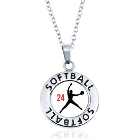 Softball Circle Necklace - Pitcher Silhouette With Number
