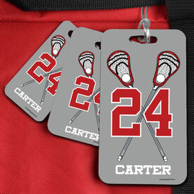 Lacrosse Bag/Luggage Tag Personalized Guys Crossed Sticks