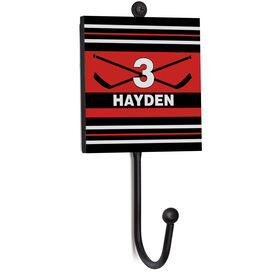 Hockey Medal Hook - Hockey Crossed Sticks With Name And Number