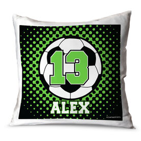 Soccer Throw Pillow Personalized Soccer Ball With Dots Background