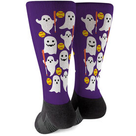 Softball Printed Mid-Calf Socks - Softball Ghosts