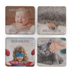 Personalized Stone Coasters Set of Four - Custom Meme