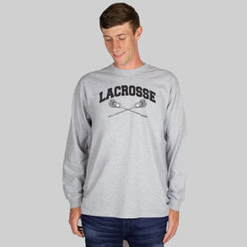Guys Lacrosse Long Sleeve T-Shirt - Crossed Sticks