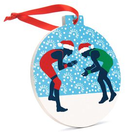 Wrestling Round Ceramic Ornament - Silhouettes with Santa Hat