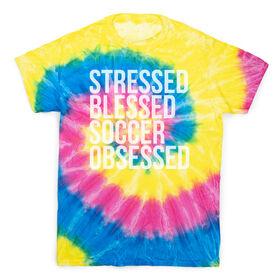 Soccer Short Sleeve T-Shirt - Stressed Blessed Soccer Obsessed Tie Dye