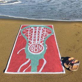Girls Lacrosse Premium Beach Towel - Monogrammed Lax Is Life