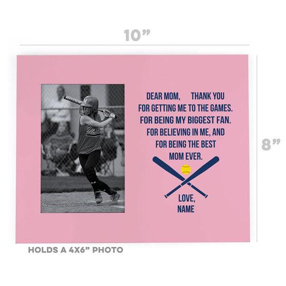 Softball Photo Frame - Dear Mom Heart