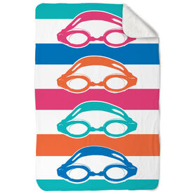 Swimming Sherpa Fleece Blanket - Colorful Swim Goggles