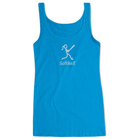 Softball Women's Athletic Tank Top White Stick Figure with Word