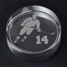 Hockey Personalized Engraved Crystal Puck - Personalized Silhouette (Player)