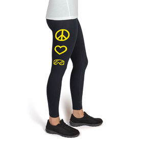 Snowboarding High Print Leggings Peace Love Snowboard