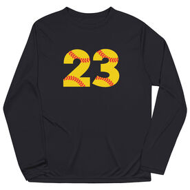 Softball Long Sleeve Performance Tee - Number Stitches