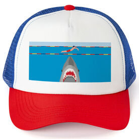 Swimming Trucker Hat - Shark Attack (Guy Swimmer)
