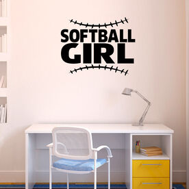 Softball Girl with Stitches Removable ChalkTalkGraphix Wall Decal
